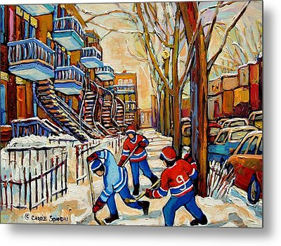 Montreal Hockey Game With 3 Boys Metal Print by Carole Spandau