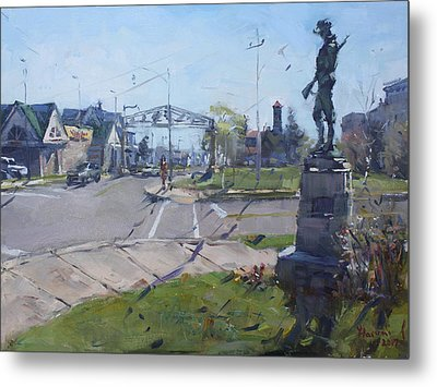 Monument At Pine Ave And Portage Rd Metal Print
