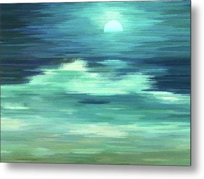 Moon And Sea Abstract Realism Metal Print