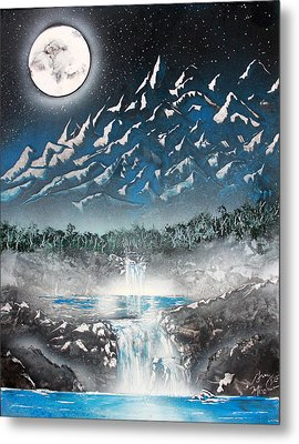 Metal Print featuring the painting Moon Falls by Greg Moores