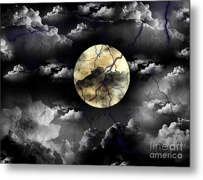 Moon In The Storm Metal Print
