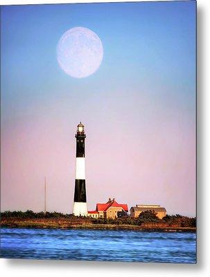 Moon Over Lighthouse Metal Print