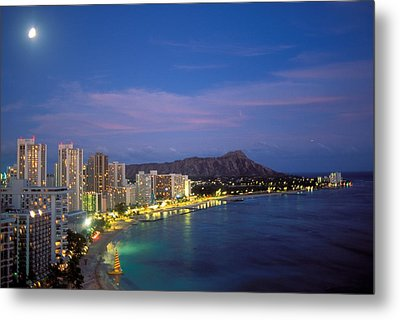 Moon Over Waikiki Metal Print by William Waterfall - Printscapes