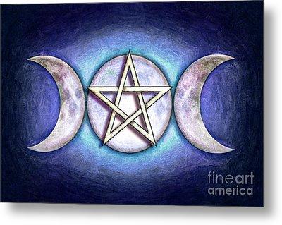 Moon Pentagram - Tripple Moon 1 Metal Print