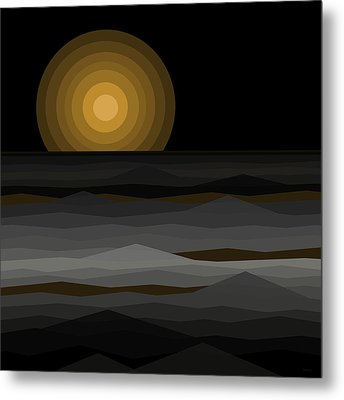Moon Rise Abstract - Black And Gold Metal Print by Val Arie