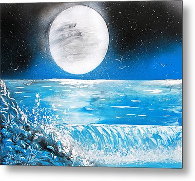 Metal Print featuring the painting Moon Wave by Greg Moores