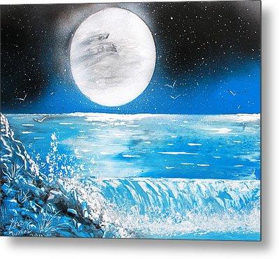 Moon Wave Metal Print