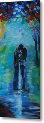Metal Print featuring the painting Moonlight Kiss Series 1 by Leslie Allen