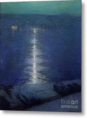 Moonlight On The River Metal Print