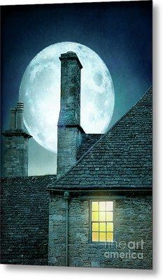 Moonlit Rooftops And Window Light  Metal Print