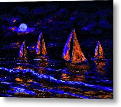 Moonlit Sailing In Neon Metal Print