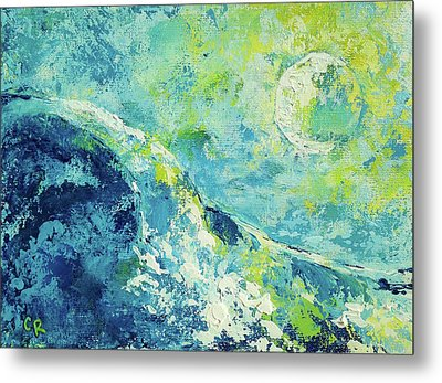 Metal Print featuring the painting Moonlit Surf by Chris Rice