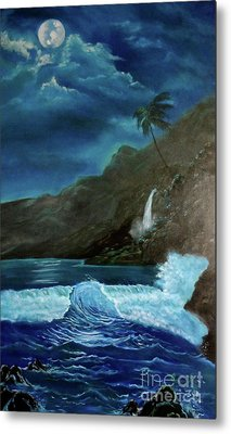 Moonlit Wave Metal Print