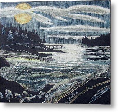 Moonrise, Duck Harbor Metal Print