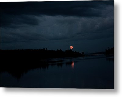 Moonrise Over Blue Hill Bay Metal Print by Greg DeBeck