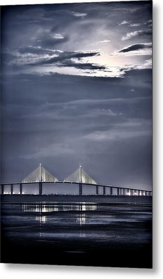 Moonrise Over Sunshine Skyway Bridge Metal Print