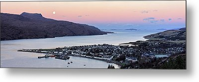 Metal Print featuring the photograph Moonset Sunrise Over Ullapool by Grant Glendinning