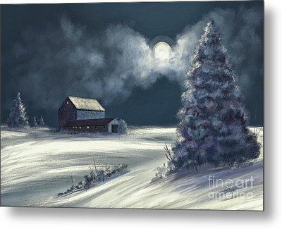 Moonshine On The Snow Metal Print by Lois Bryan