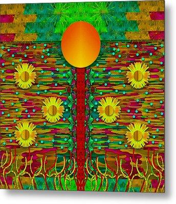 Moonshine Over The Golden Sacred Pond  Metal Print by Pepita Selles