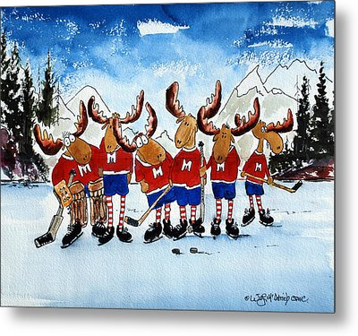 Moose Champs And Shinny Kings Metal Print by Wilfred McOstrich