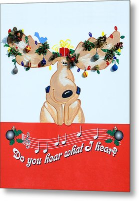 Moose Christmas Greeting Metal Print