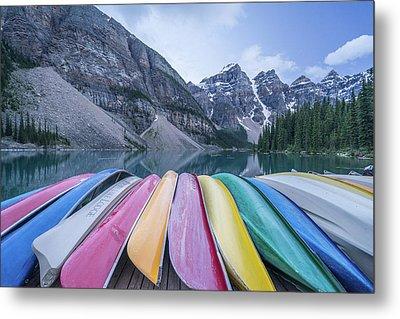 Moraine Lake Colors Metal Print by Alpha Wanderlust
