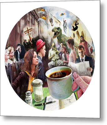 Morning Coffee With Eggs Over Easy Metal Print