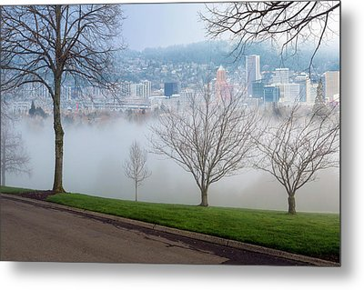 Morning Fog Over City Of Portland Skyline Metal Print by David Gn