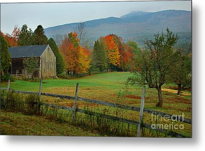 Morning Grove - New England Fall Monadnock Farm Metal Print by Jon Holiday