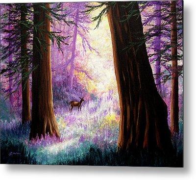 Morning Light Deep In The Redwoods Metal Print