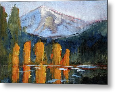 Metal Print featuring the painting Morning Light Mountain Landscape Painting by Nancy Merkle