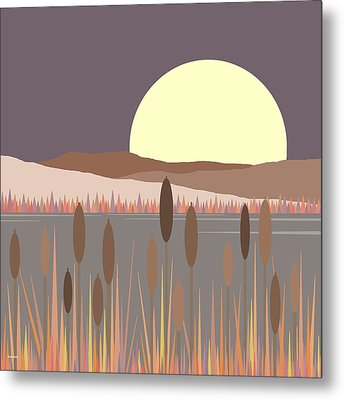 Morning Moon Metal Print by Val Arie
