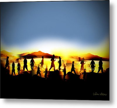 Morning Routine Metal Print by Sabine Stetson
