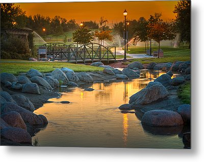 Morning Sunrise In The Park Metal Print