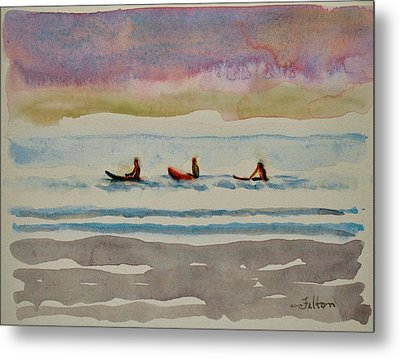 Morning Surfers 8-16-17 Julianne Felton Metal Print