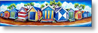 Mornington Beach Huts Metal Print