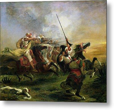 Moroccan Horsemen In Military Action Metal Print