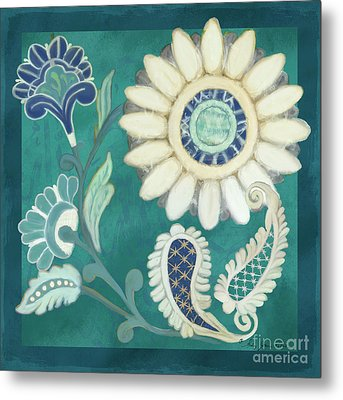 Moroccan Paisley Peacock Blue 2 Metal Print by Audrey Jeanne Roberts