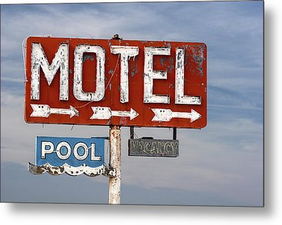 Metal Print featuring the photograph Motel And Pool Sign Route 66 by Carol Leigh