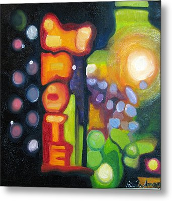 Metal Print featuring the painting Motel Lights by Patricia Arroyo