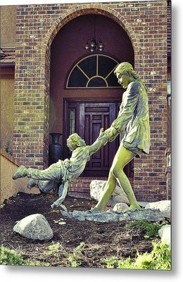 Mother And Child At Play Statue I Metal Print