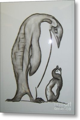 Mother And Child Penguins Metal Print
