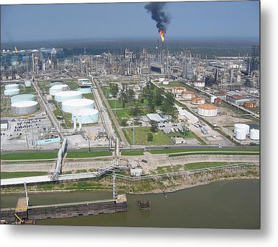 Motiva Petroleum Refinery Is Located Metal Print by Everett