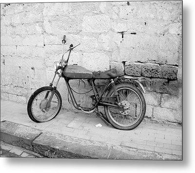 Motor Bike With Flat Tire Metal Print
