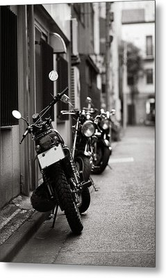 Motorbikes Parked On Street In Tokyo, Japan Metal Print by photo by Jason Weddington