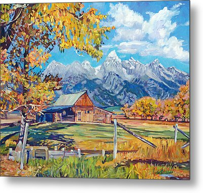 Moulton's Barn Grand Tetons Metal Print by David Lloyd Glover