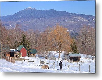 Mount Abraham And Winter Farm Green Mountains Metal Print by John Burk