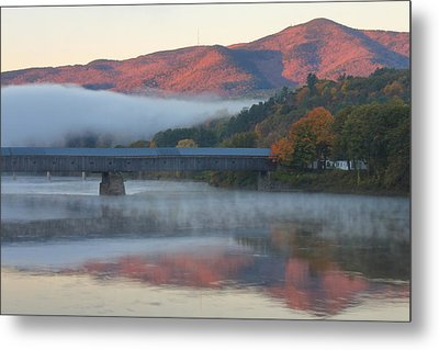 Mount Ascutney And Windsor Cornish Bridge Sunrise Fog Metal Print
