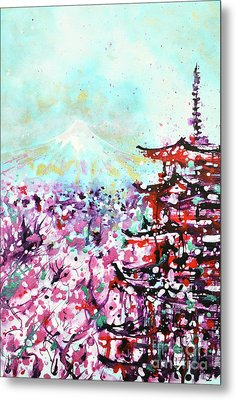 Metal Print featuring the painting Mount Fuji And The Chureito Pagoda In Spring by Zaira Dzhaubaeva