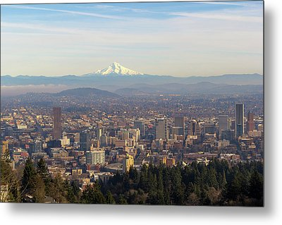 Mount Hood Over City Of Portland Oregon Metal Print by David Gn